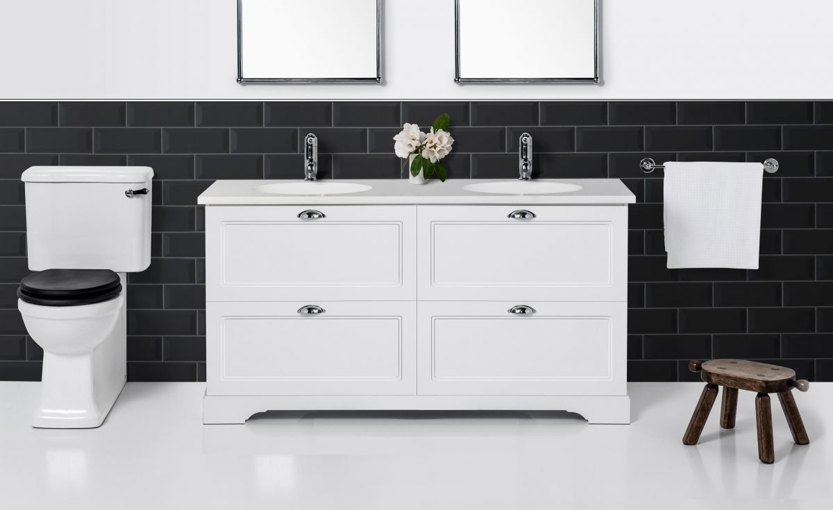 English Classic 1550 Floor Standing Vanity Double Bowl 4 Drawers