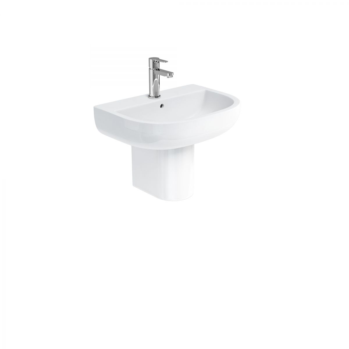 Compact Basin 550mm with Round Semi Pedestal
