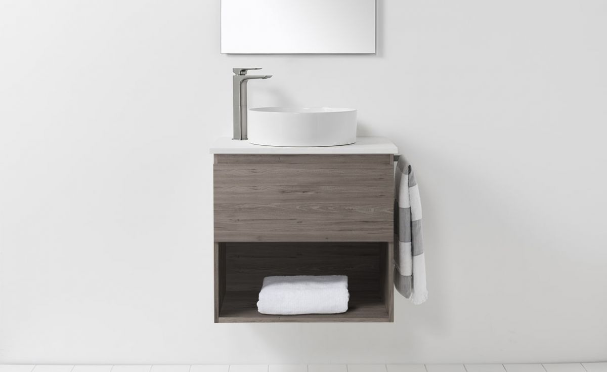 Soft Solid Surface 650 Wall-Hung Vanity 1 Drawer & Open Shelf