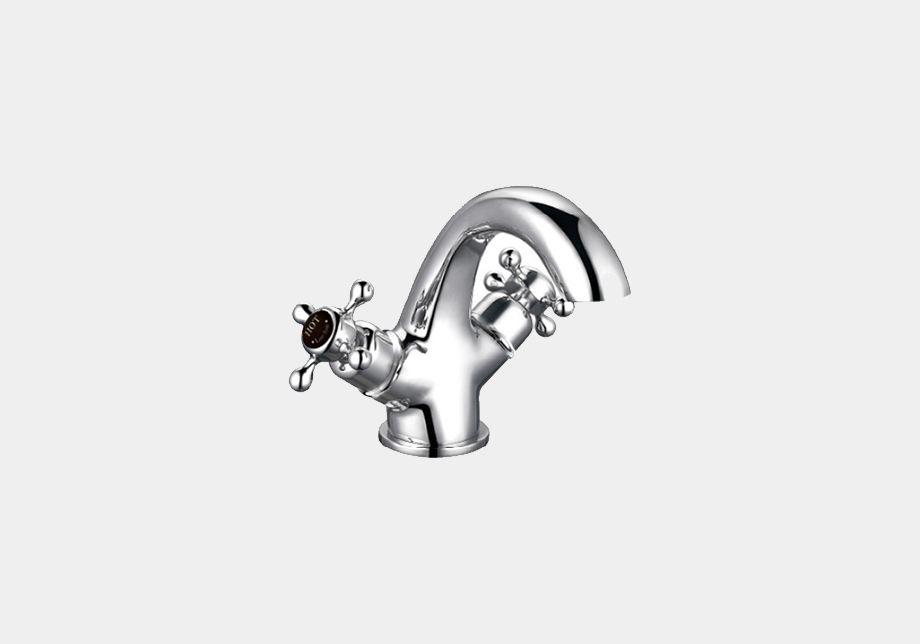 Gooseneck Basin Mixer in Chrome/White