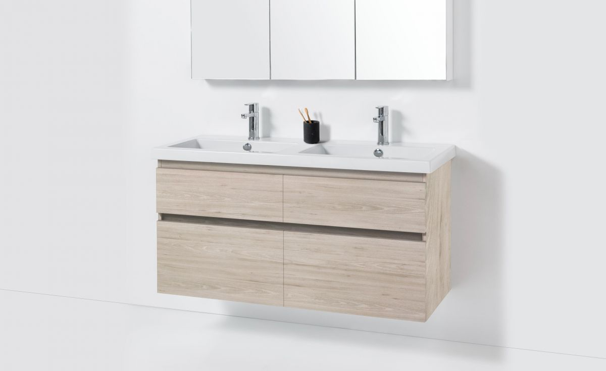 Cangas 1200 Wall-Hung Vanity Double Bowl 4 Drawers