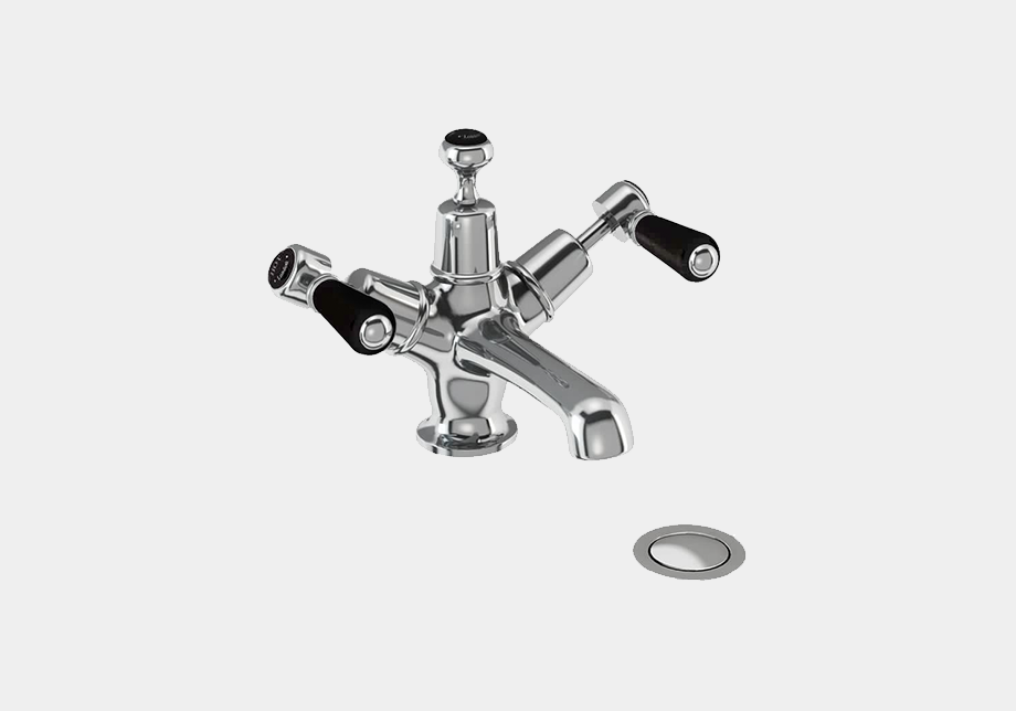 Kensington Basin Mixer in Chrome/White with Click Clack Waste