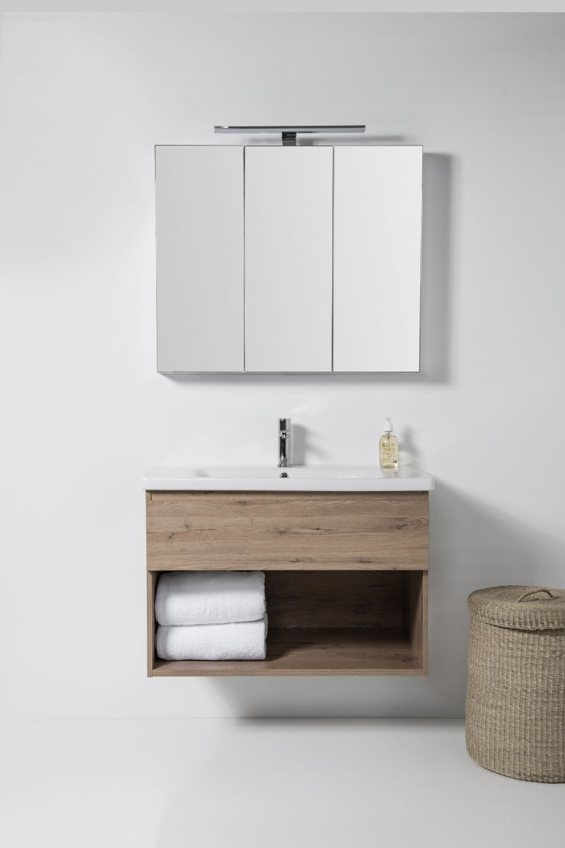 Soft Vanity - 900mm, 1 drawer & open shelf