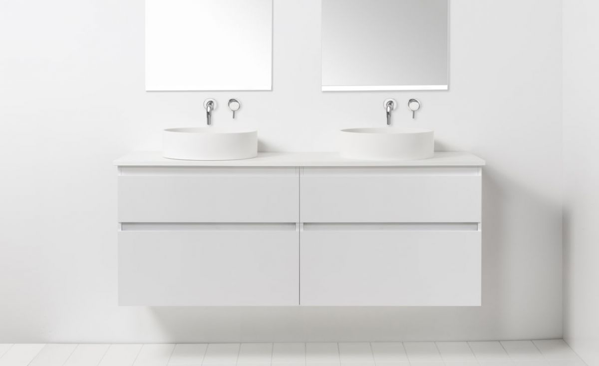 Soft Solid Surface 1300 Wall-Hung Vanity Double Bowls 4 Drawers