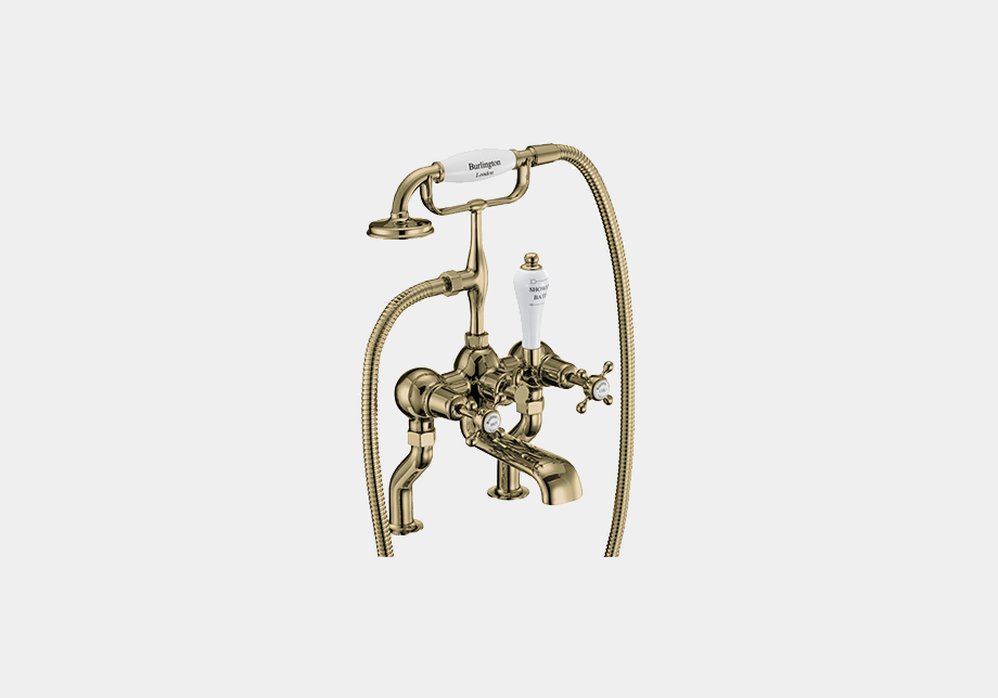 Claremont Bath Shower Mixer Deck Mounted with 'S' Adjuster in Nickel/White