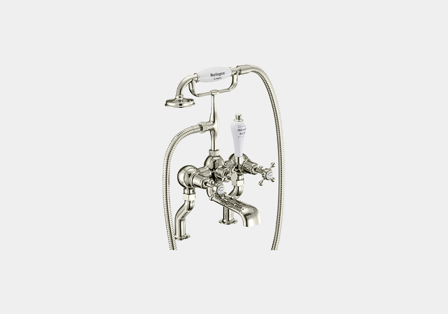Claremont Bath Shower Mixer Deck Mounted with 'S' Adjuster in Gold/White