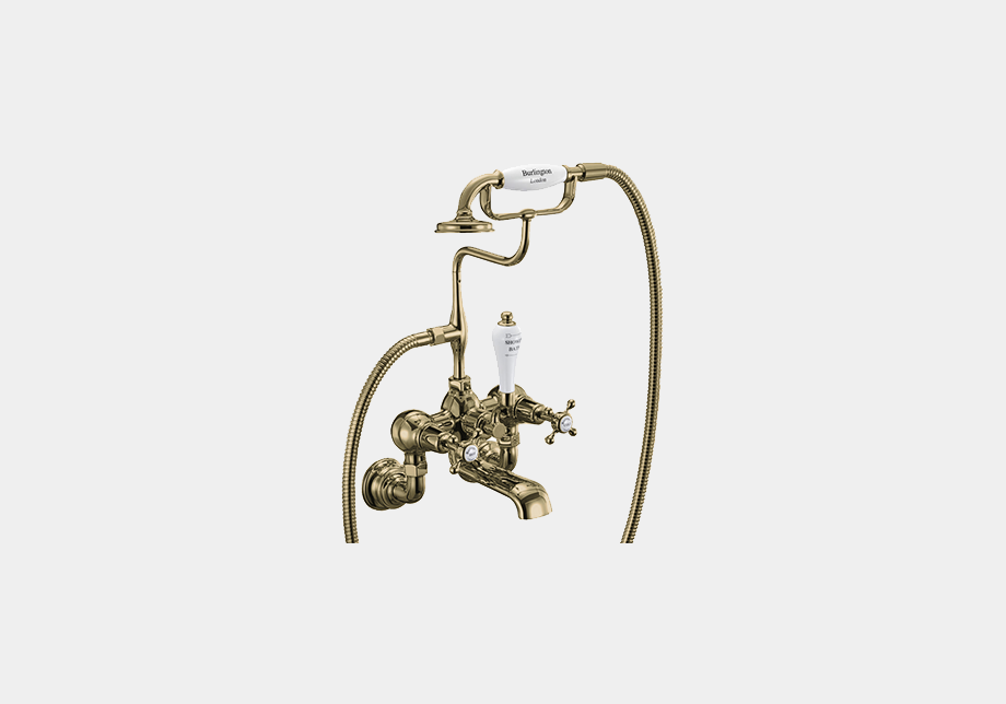 Claremont Bath Shower Mixer Wall Mounted with 'S' Adjuster in Gold/White