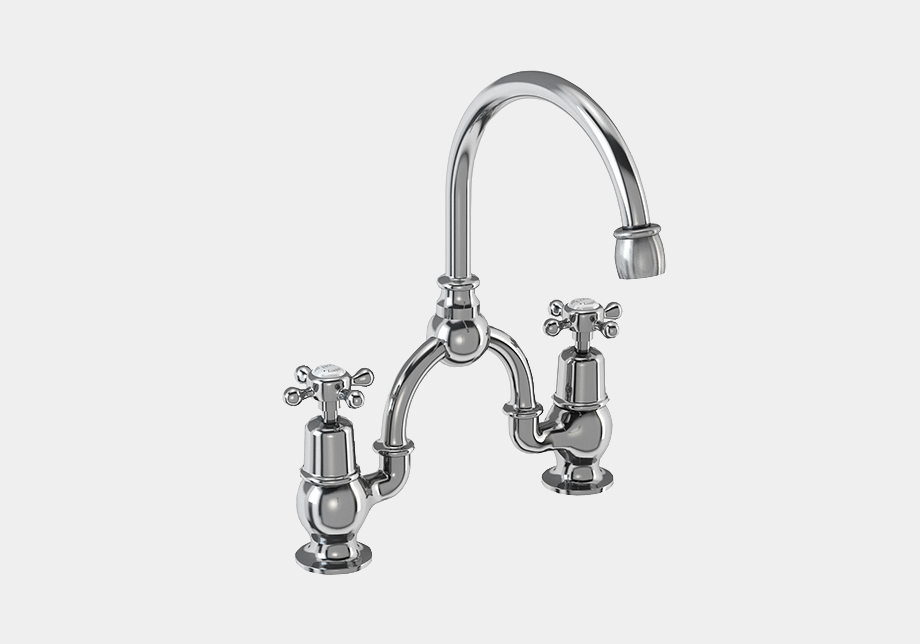 Claremont Two Tap Hole Arch Mixer in Chrome/Black with Curved Spout (200mm Centres)