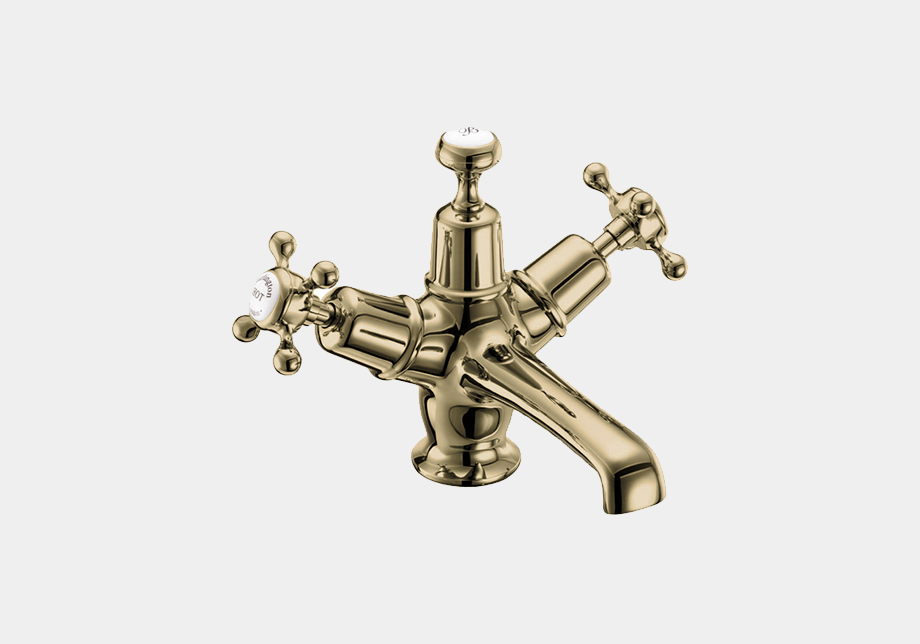 Claremont Basin Mixer in Gold/White with Click Clack Waste