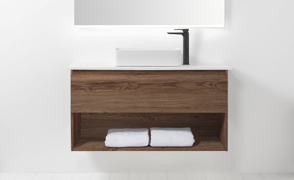 Soft Solid Surface 1000 Wall-Hung Vanity 1 Drawer & Open Shelf