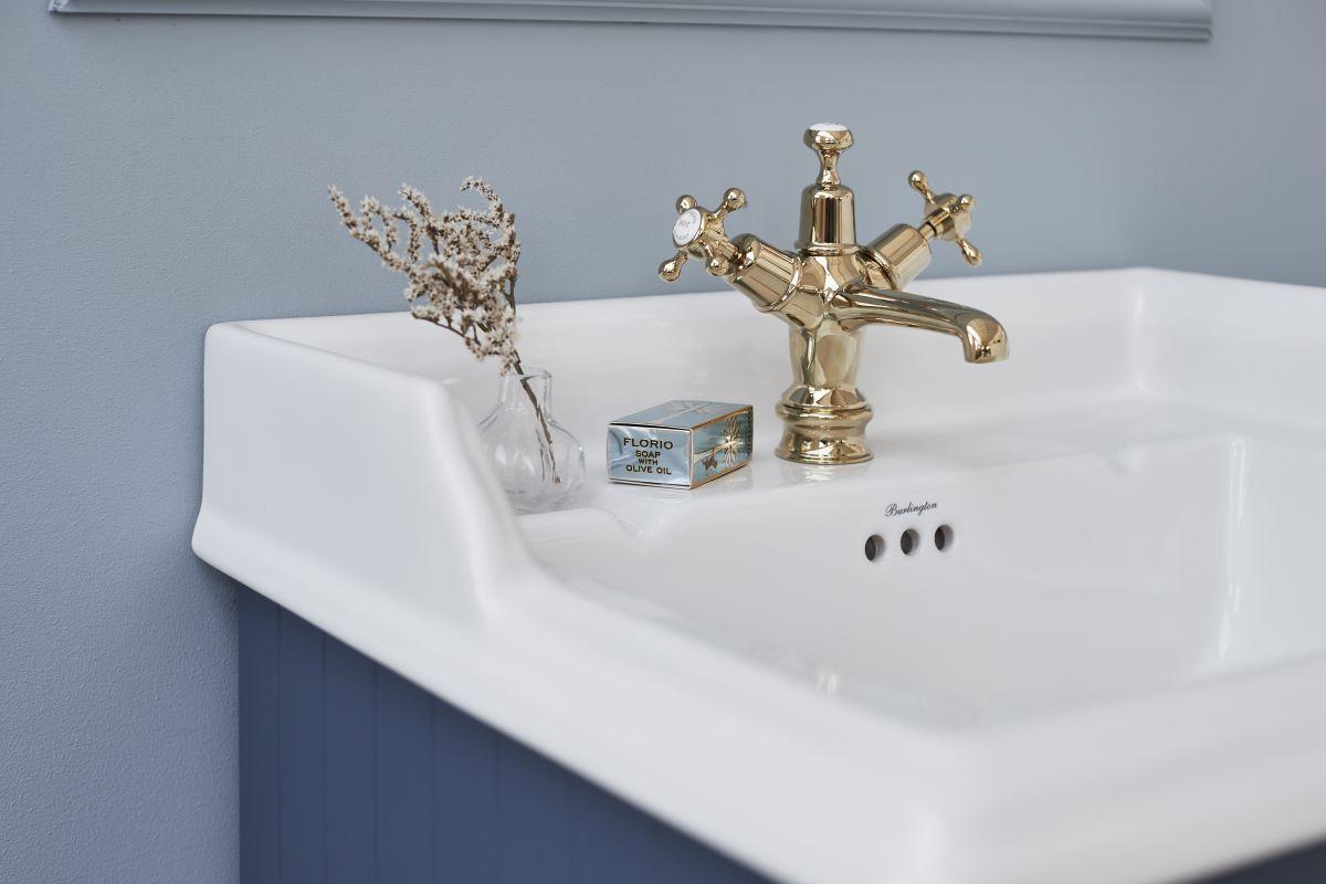 Claremont Regent Basin Mixer in Gold/White Pop Up Waste