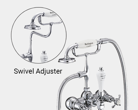 Kensington Bath Shower Mixer Wall Mounted with 'S' Adjuster in Chrome/White