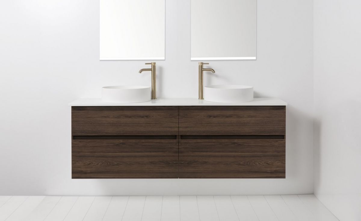 Soft Solid Surface 1760 Wall-Hung Vanity Double Bowls 4 Drawers