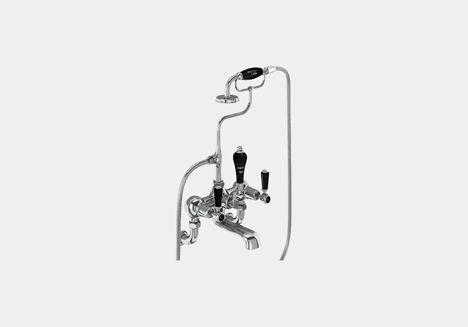 Kensington Bath Shower Mixer Wall Mounted with 'S' Adjuster in Chrome/Black
