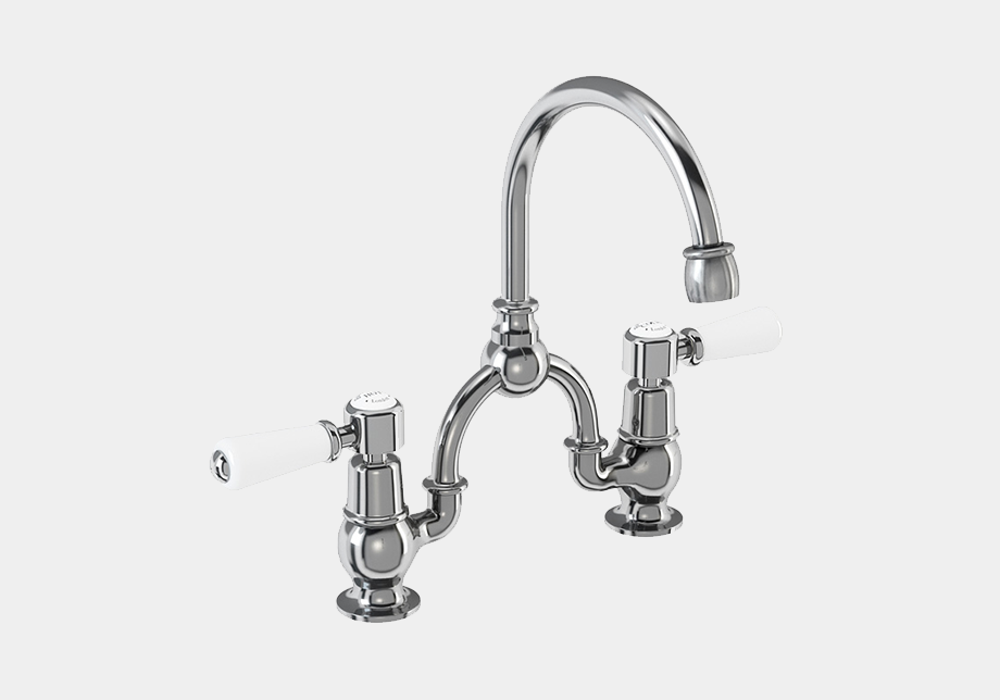 Kensington Two Tap Hole Arch Mixer in Chrome/White with Curved Spout (200mm Centres)