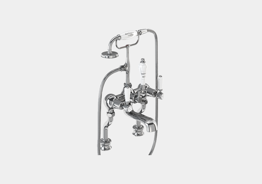 Kensington Regent Bath Shower Mixer Deck Mounted with 'S' Adjuster in Chrome/Black
