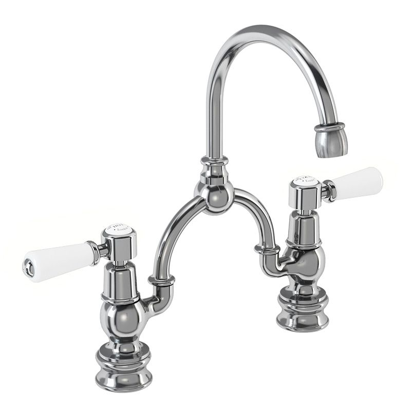 Kensington Regent Two Tap Hole Arch Mixer in Chrome/White with Curved Spout (230mm Centres)