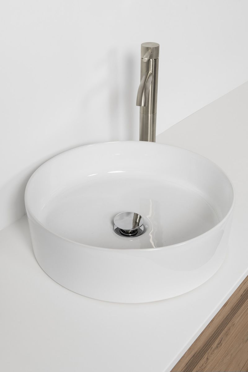 Soft Solid Surface 1760 Floor Standing Vanity Double Bowls 4 Drawers