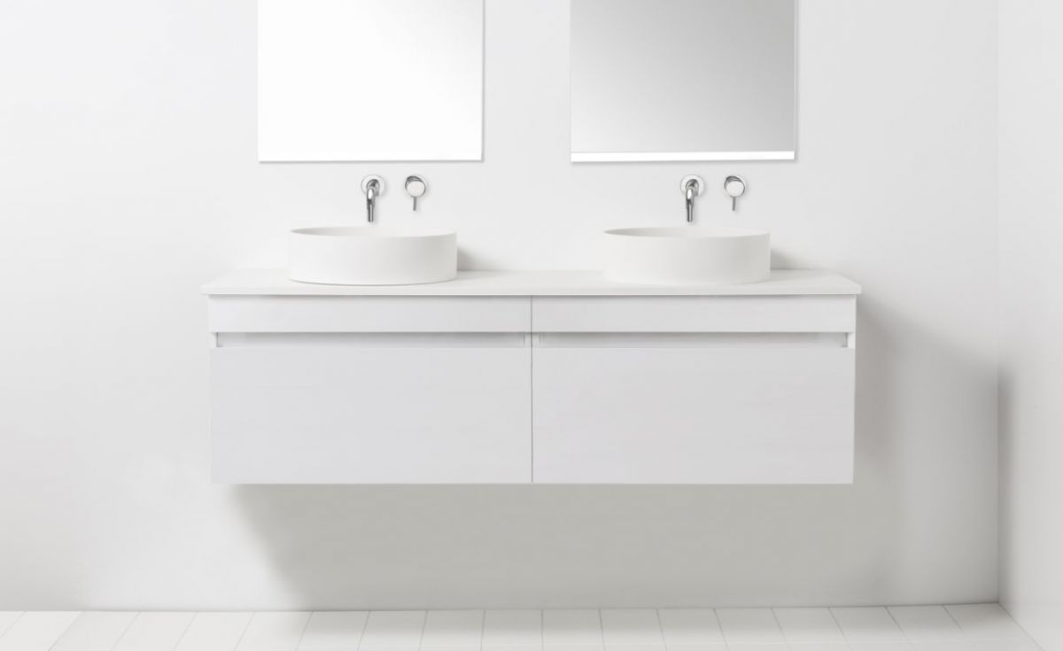 Soft Solid Surface 1300 Wall-Hung Vanity Double Bowls 2 Drawers