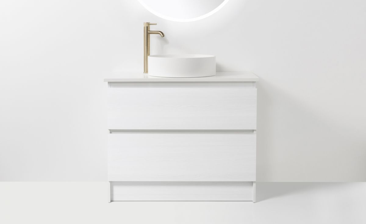 Soft Solid Surface 900 Floor Standing Vanity 2 Drawers