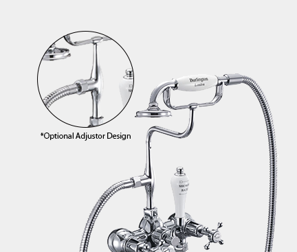 Claremont Bath Shower Mixer Wall Mounted with 'S' Adjuster in Nickel/White