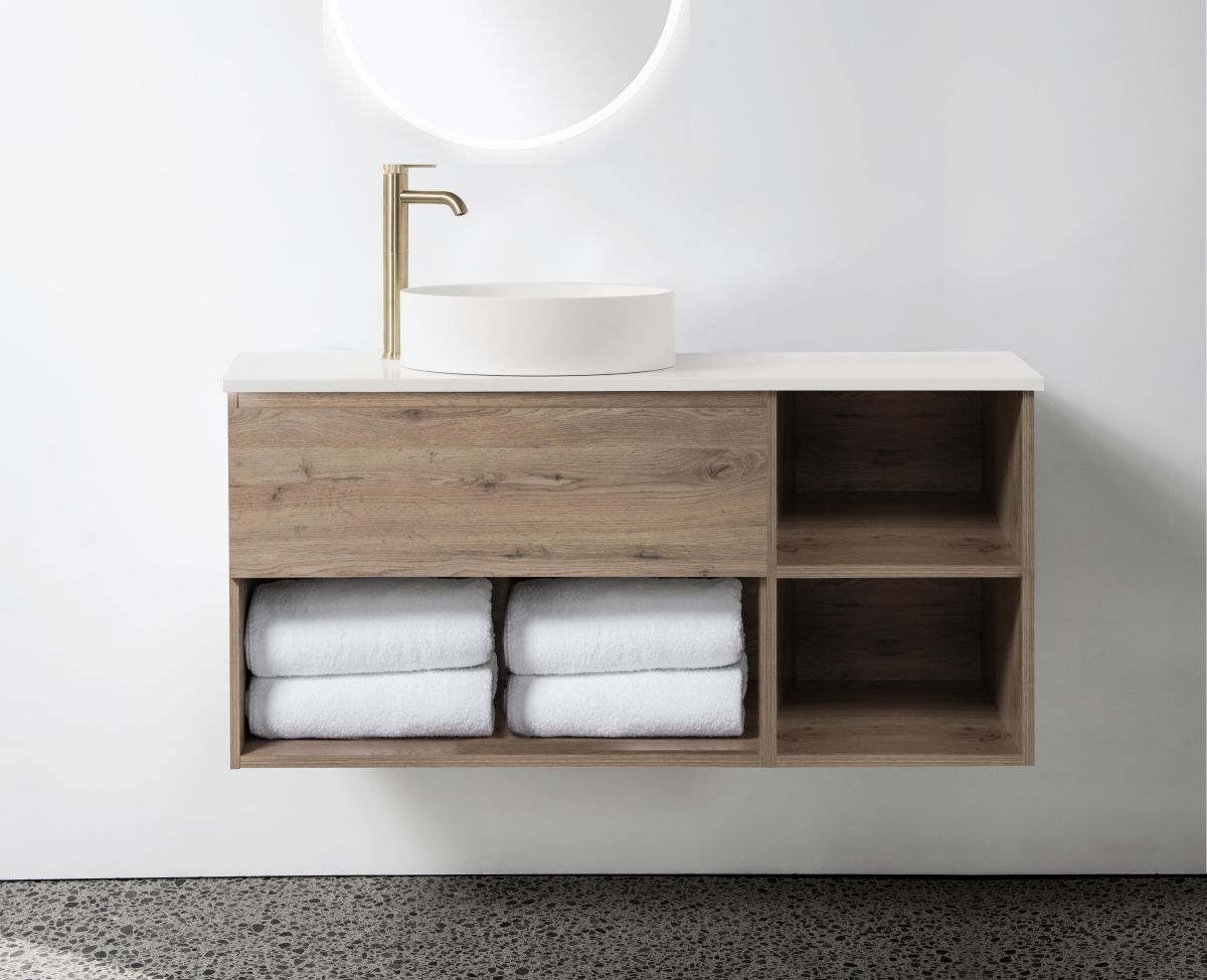 Soft Solid-Surface 1200, 1 Drawer, 1 Open Shelf Wall-Hung Vanity + 300 Open Shelf Module