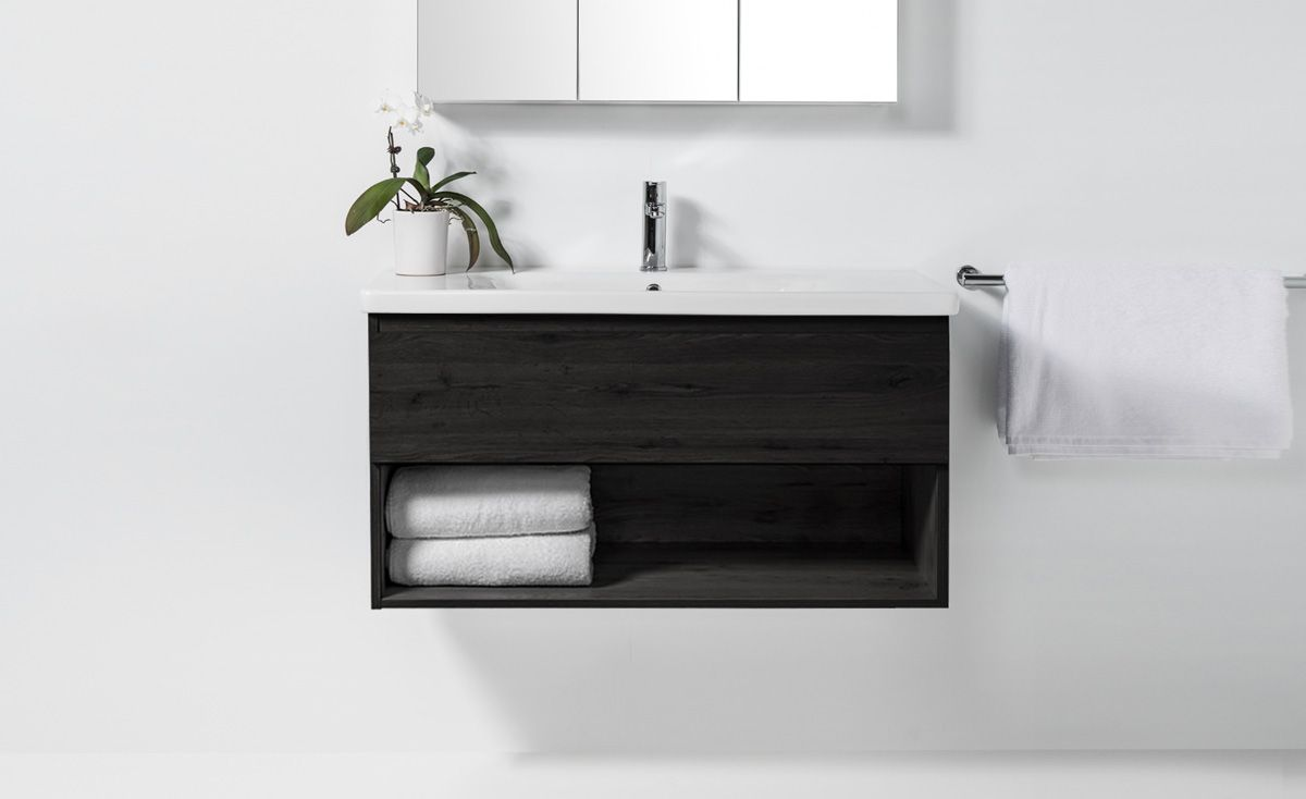 Soft 1000 Wall Hung Vanity 1 Drawer Amp Open Shelf Bath Co