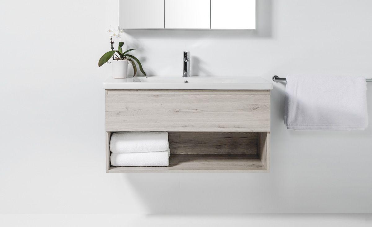 Soft 1000 Wall-Hung Vanity 1 Drawer & Open Shelf