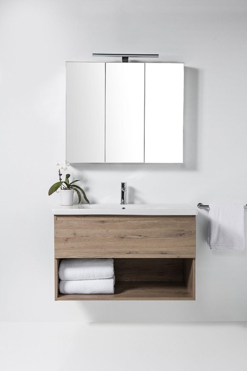 Soft Vanity - 1000mm, 1 drawer & open shelf