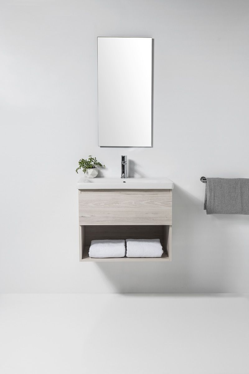 Soft Vanity - 650mm, 1 drawer & open shelf