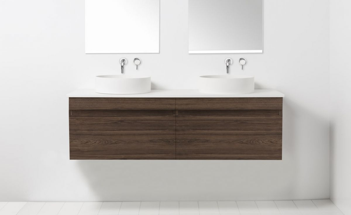 Soft Solid Surface 1550 Wall-Hung Vanity Double Bowls 2 Drawers