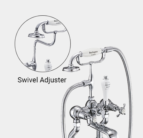 Kensington Regent Bath Shower Mixer Wall Mounted with 'S' Adjuster in Chrome/White