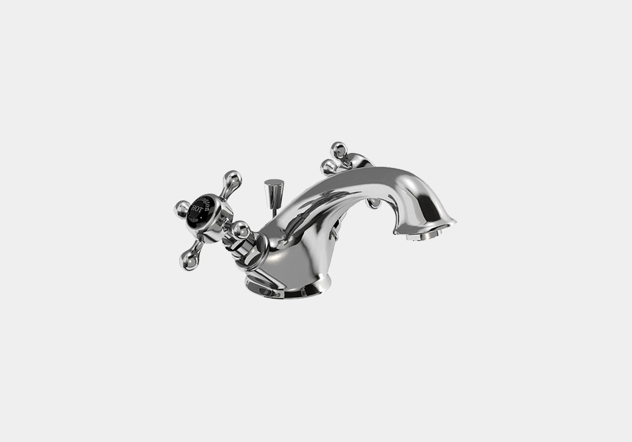 Stafford Mono Basin Mixer in Chrome/White with Pop Up Waste