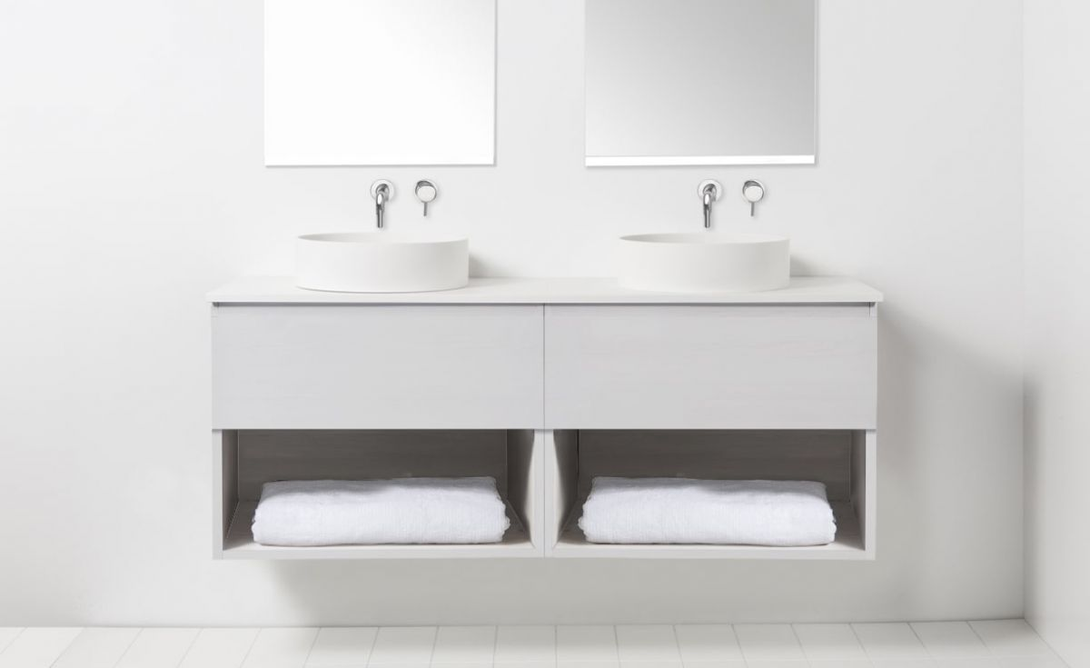 Soft Solid Surface 1300 Wall-Hung Vanity Double Bowls 2 Drawers & Open Shelves