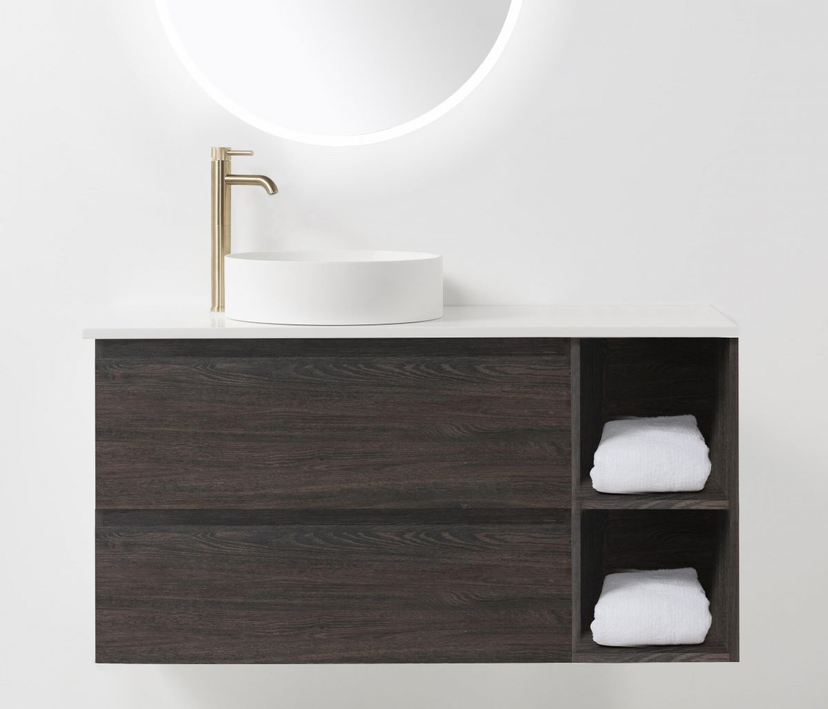Soft Solid-Surface 1200, 2 Drawer Wall-Hung Vanity + 300 Open Shelf Module