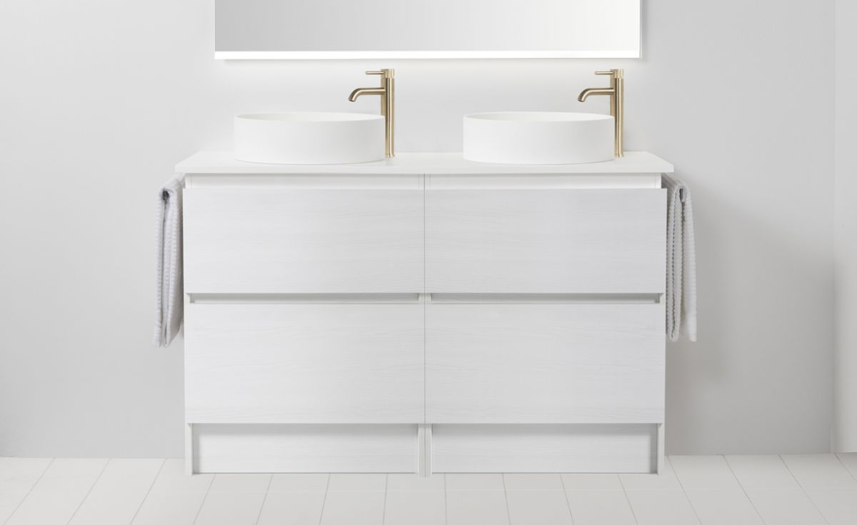 Soft Solid Surface 1300 Floor Standing Vanity Double Bowls 4 Drawers