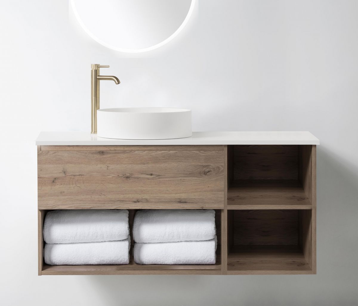 Soft Solid-Surface 900, 1 Drawer, 1 Open Shelf Wall-Hung Vanity + 300 Open Shelf Module