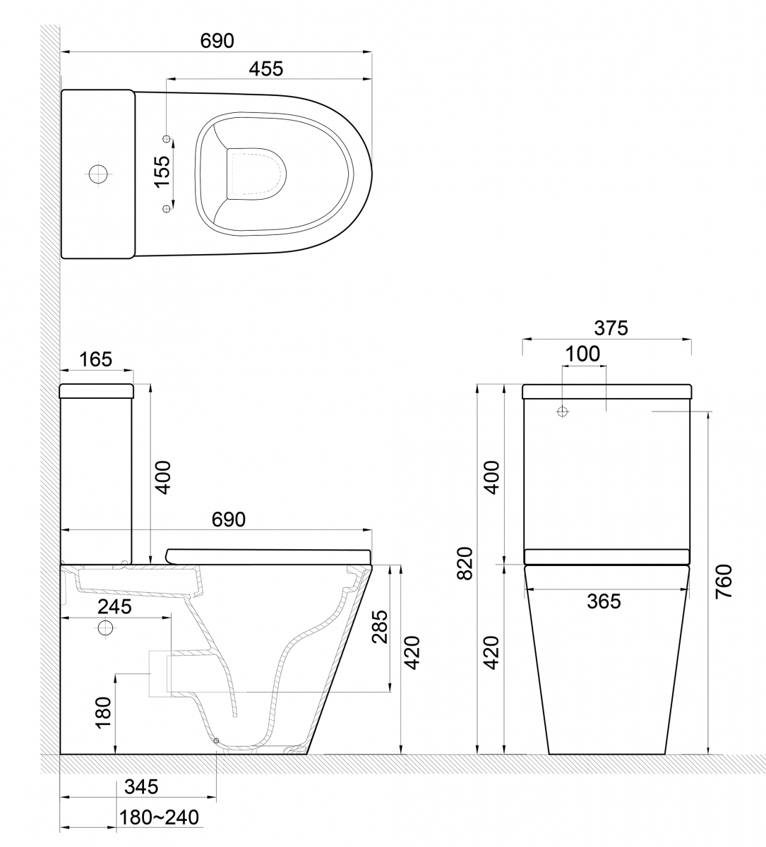 Sphere Easy Height Rimless Back-To-Wall Toilet Suite with Cistern