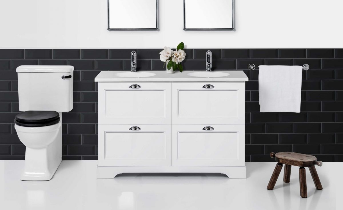 English Classic 1130 Floor Standing Vanity Double Bowl 4 Drawers