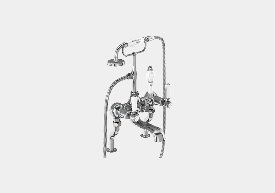 Kensington Bath Shower Mixer Deck Mounted with 'S' Adjuster in Chrome/White