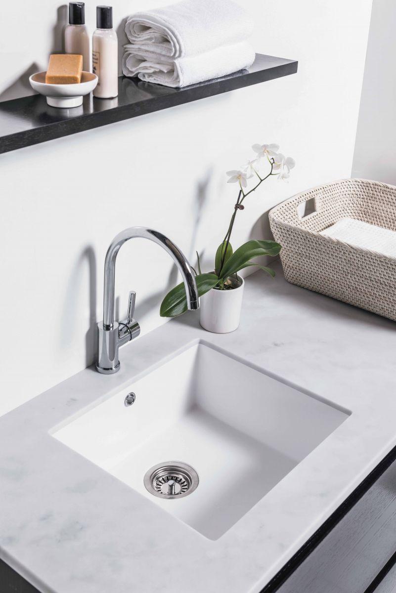 White Kordura Inset Laundry Sink with Carrera