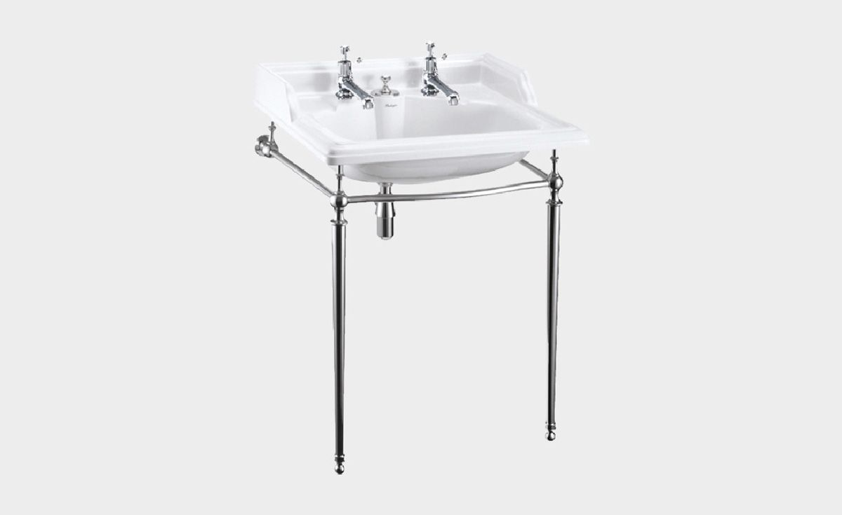 Classic Rectangle 650 Basin with Invisible Overflow & Chrome Washstand