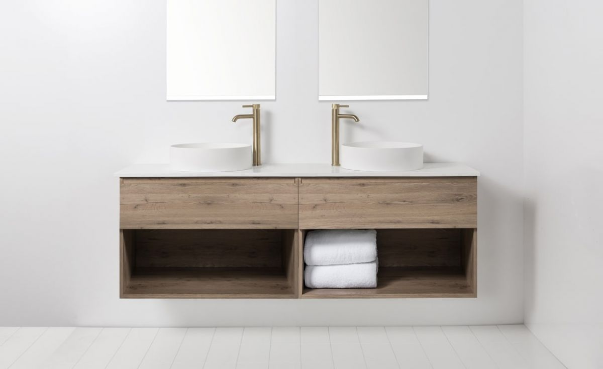 Soft Solid Surface 1760 Wall-Hung Vanity, Double Bowls, 2 Drawers & Open Shelves