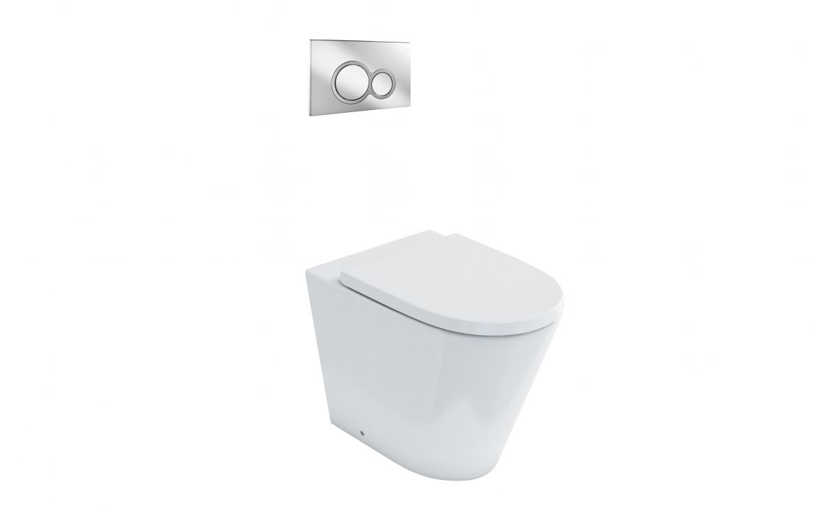 Sphere Easy Height Rimless Back-To-Wall Toilet Suite with In-Wall Cistern