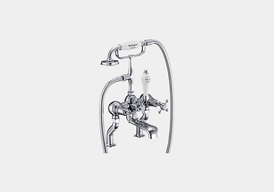 Claremont Bath Shower Mixer Deck Mounted with 'S' Adjuster in Chrome/White
