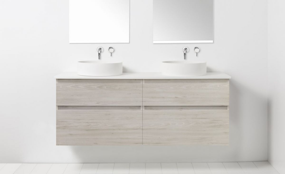 Soft Solid Surface 1550 Wall-Hung Vanity Double Bowls 4 Drawers