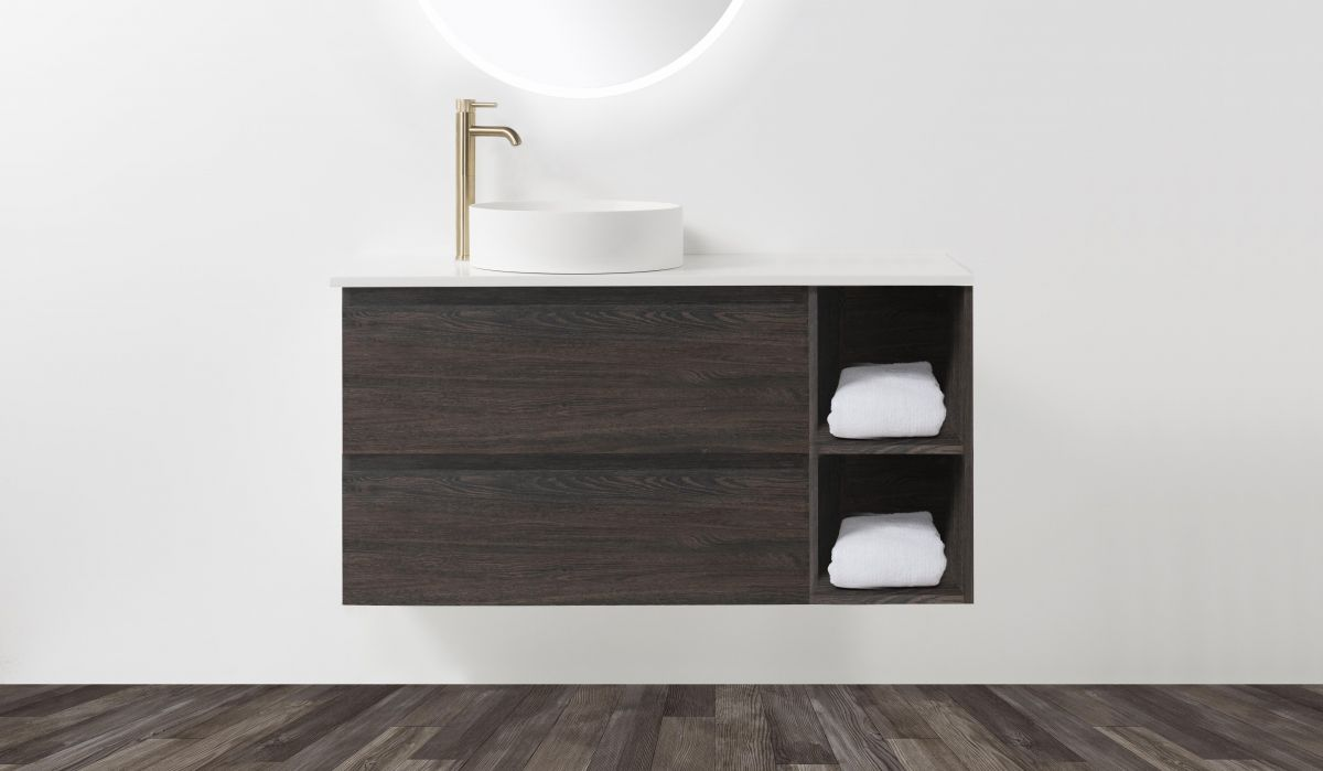 Soft Solid-Surface 900, 2 Drawer Wall-Hung Vanity + 400 Open Shelf Module