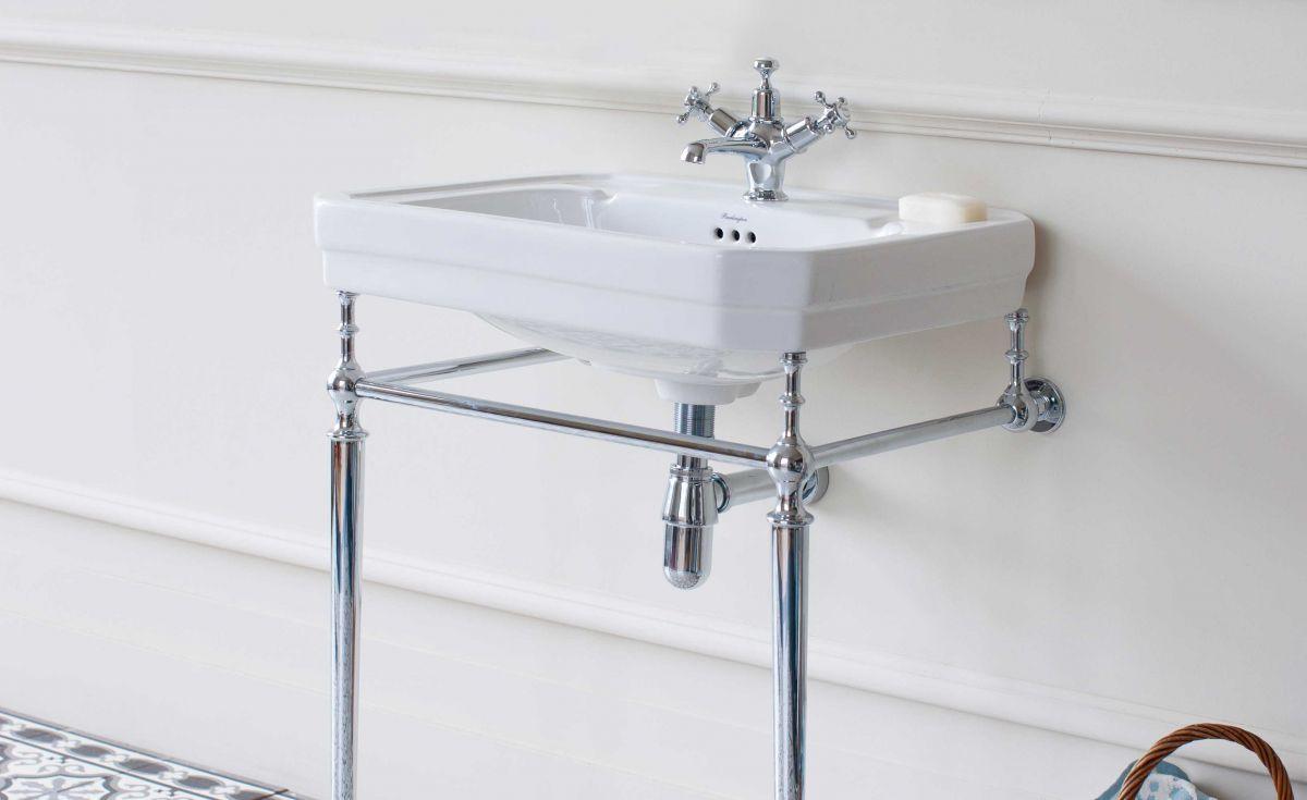 Victorian Rectangle 610 Basin & Chrome Wash Stand