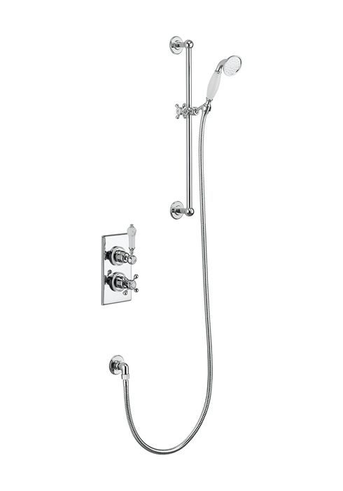 Trent Thermostatic Single Outlet Concealed Shower Valve with Rail, Hose & Handset