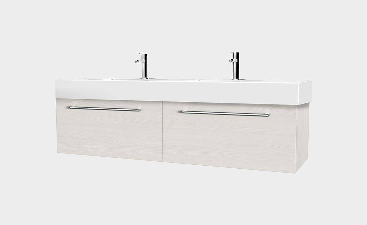 Splash 1200 Wall-Hung Vanity Double Bowl 2 Drawers Side By Side